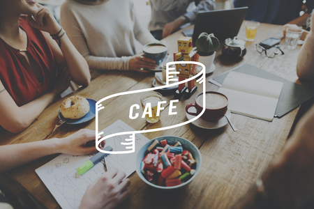 food industry: Cafe Cafeteria Food and Beverage Industry Restaurant Concept Stock Photo