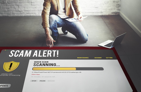 Computer scam alert scanning for threats concept