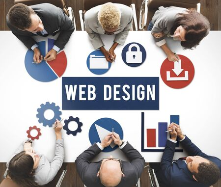 Web design concept in corporate meeting