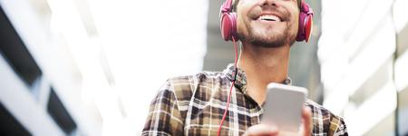 Man Walking Listening Music Earphones Concept