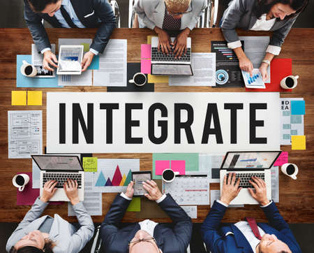 to incorporate: Integrate Combine Equality Immigration Merge Concept Stock Photo