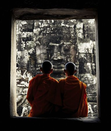 cambodian: Two Teen Cambodian Monks Concept Stock Photo