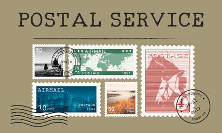 airmail: Airmail Mail Postcard Letter Stamp Concept Stock Photo
