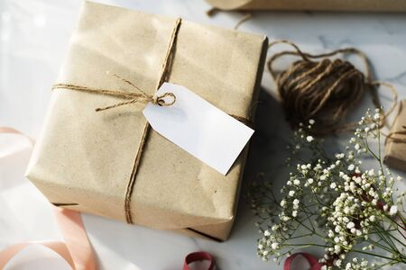 Craft Design Simplify Wrapping Gift Concept Stock Photo
