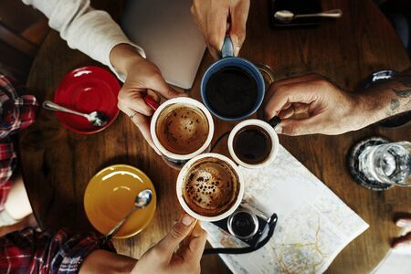 ourdoor: Camping Coffee Break Togetherness Friendship Concept