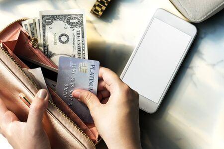 shopaholic: Shopping Spending Shopaholic Money Concept Stock Photo
