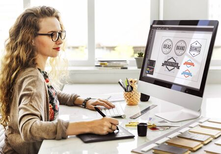mousepad: Woman Designer Interior Working Workspace Concept Stock Photo