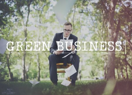 environmentalist: Go Green Business Environment Conservation Environmentalist Concept Stock Photo