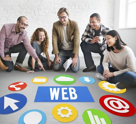 group discussion: Group discussion with web concept Stock Photo