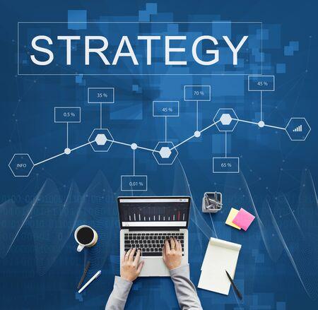 reseach: Strategy Analysis Plan Solution Development Concept Stock Photo