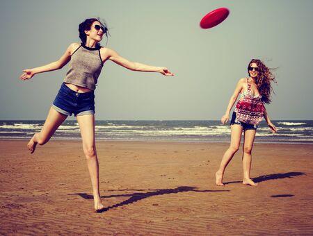 chill: Frisbee Beach Chill Coast Summer Female Girl Concept