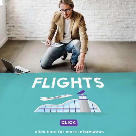 business trip: Flights Business Trip Travel Information Concept