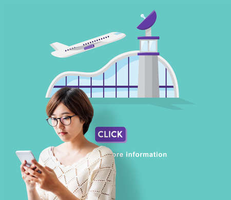 aircraft take off: Business Trip Flights Travel Information Concept Stock Photo