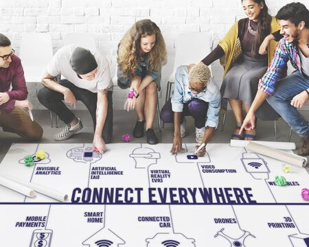 everywhere: Connect Everywhere Connected Drones Technology Concept