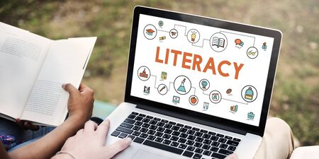 literacy instruction: Lesson Learning Literacy Knowledge Education Concept Stock Photo