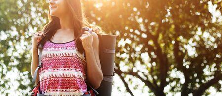 wanderlust: Girl Standing Backpacker Travel Wanderlust Concept