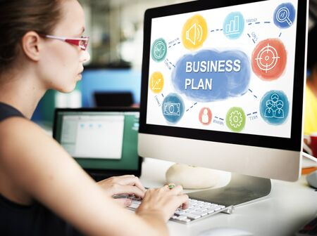 planning strategy: Businesswoman Business Planning Strategy Concept Stock Photo