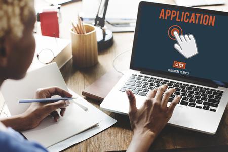 headhunting: Application Hiring Headhunting Network Concept Stock Photo