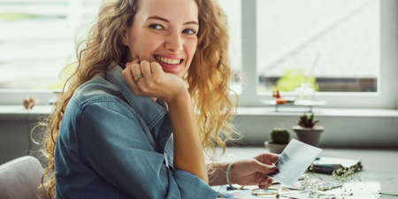 selections: Lady Smiling Natural Photograph Concept Stock Photo