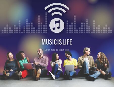 melody: Music is Life Art Audio Expression Melody Playing Concept Stock Photo