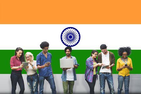 patriotism: India Flag Patriotism Indian Pride Unity Concept Stock Photo