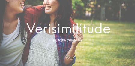 women friendship: Verisimilitude True Realistic Credible Concept Stock Photo