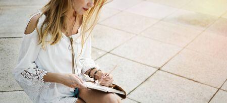 creativity: Beautiful Woman Writing Creativity Concept Stock Photo
