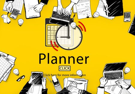 office team: PLanner Schedule Notice Concept Stock Photo
