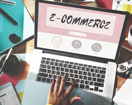 E-commerce Koop Online winkelen op Internet Store Concept Stockfoto