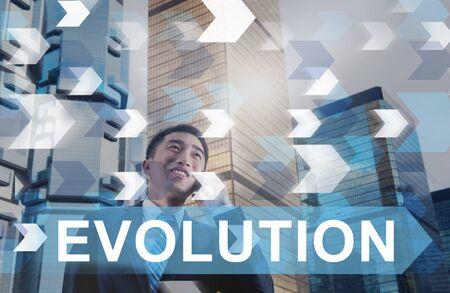 Evoluzione Revisione Innovazione Sviluppo Evolve Concetto Archivio Fotografico