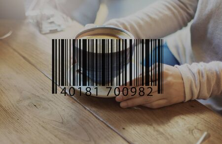 coffe break: Barcode Mark Sign Market Item Concept Stock Photo