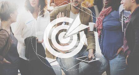 man business oriented: Target Goals Expectations Achievement Graphic Concept