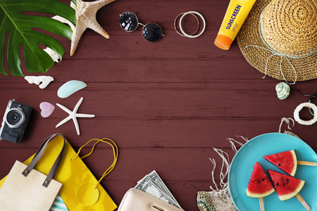Summer flat lay with copyspace Stock Photo
