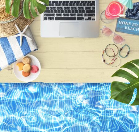 poolside: Laptop Drink Objects Poolside Concept Stock Photo