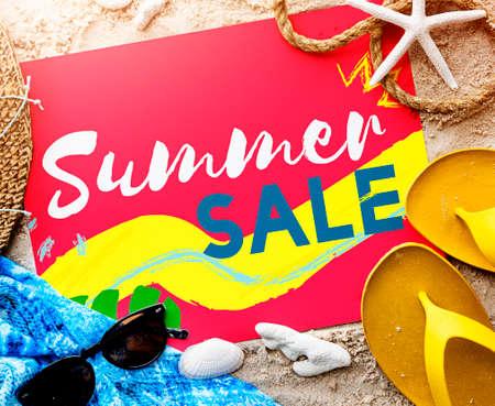 Summer Beach Sandals Words Sunglasses Concept Stock Photo