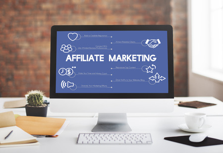 Affiliate marketing concept in a computer Stock Photo