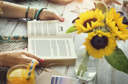 Lady Reading Book Novel Concept