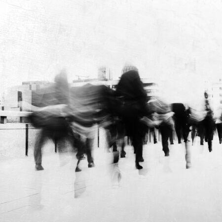 stressing: People rushing to work. Stock Photo