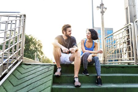 hombre deportista: Couple Exercise Jogging Running Park Concept