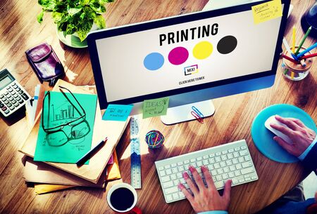 imprenta: Printing Process Offset Ink Color Industry Media Concept