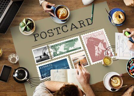 우편 우표 메일 패키지 스탬프 개념 스톡 콘텐츠