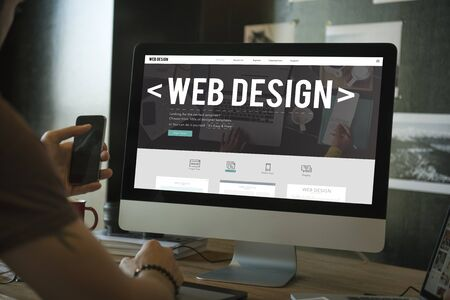 Web Design Digital Media Layout Homepage Page Concept Stockfoto