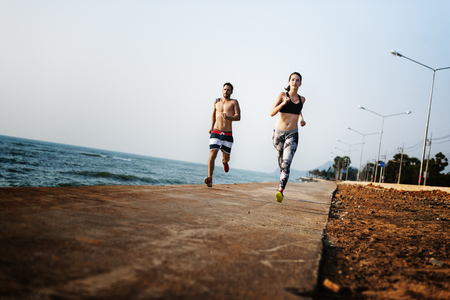 Running Exercise Training Healthy Lifestyle Beach Concept