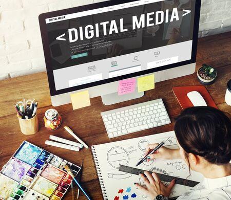 Web Design Digital Media Layout Homepage Page Concept Stock fotó