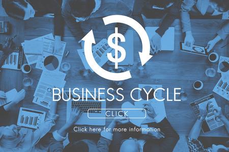 economic activity: Business Cycle Economy Financial Concept Stock Photo