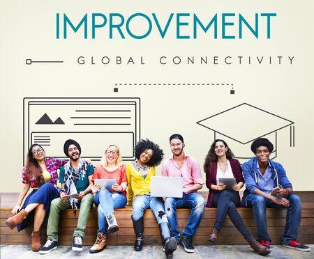 connectivity: Improvement Global Connectivity Education Graphic Concept Stock Photo