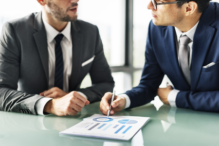 Businessman having a discussion Stock Photo