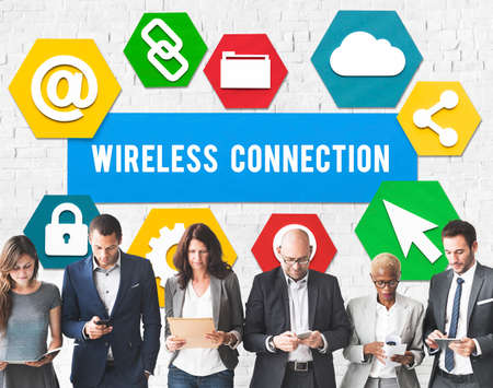 multiethnic: Wireless Signal Reception Mobility Graphic Concept