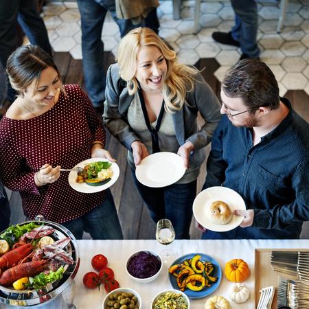 Colleagues Friends Lunch Dinner Food Together Eating Concept Reklamní fotografie