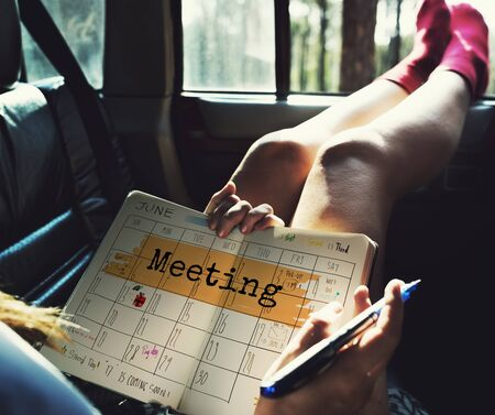 Meeting Agenda Planner Reminder Calendar To Do Concept Stock Photo